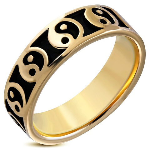 Yin-Yang Bagua Flat Bronze Ring - Rings - Rebelroad.co.za