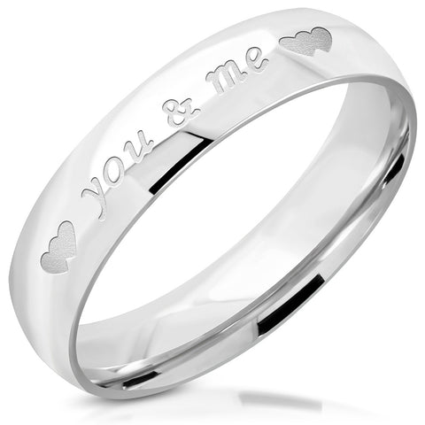 You & Me Heart Affirmation Love Comfort Fit Half-Round Band Ring - Rings - Rebelroad.co.za
