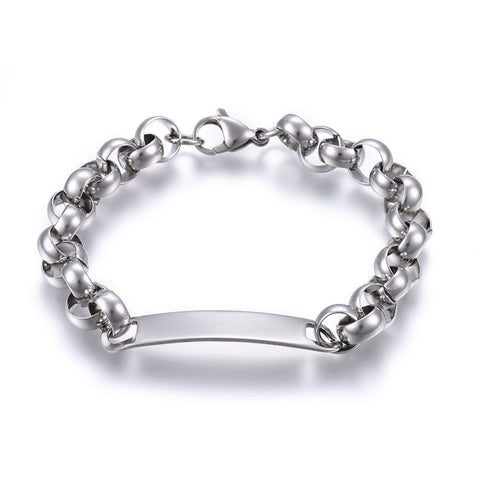 9mm Rolo Chain ID Engravable Bracelet