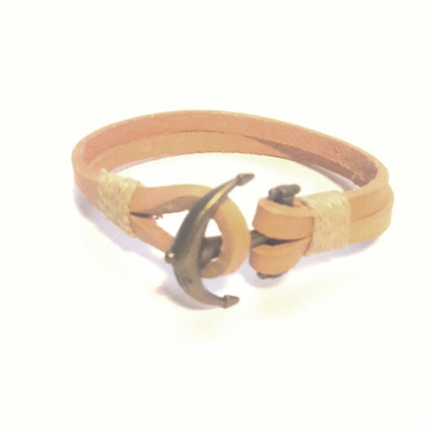 Anchor Bracelet Natural/Tan - Bracelets - Rebel Road