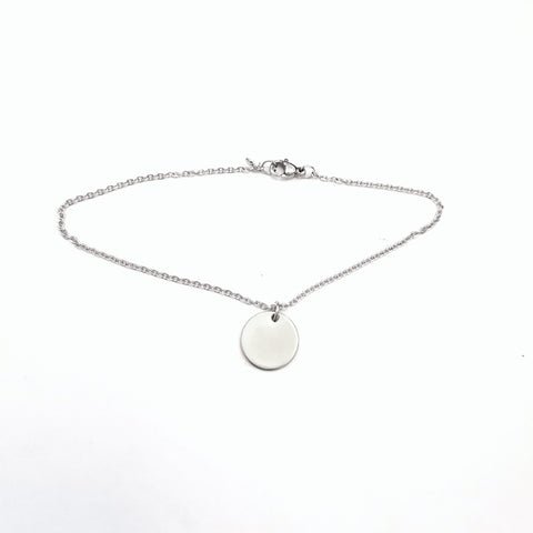 Cable Anklet Chain with Round Charm
