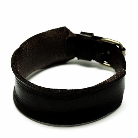 Black Curl Edge Leather Bracelet - Bracelets - Rebel Road