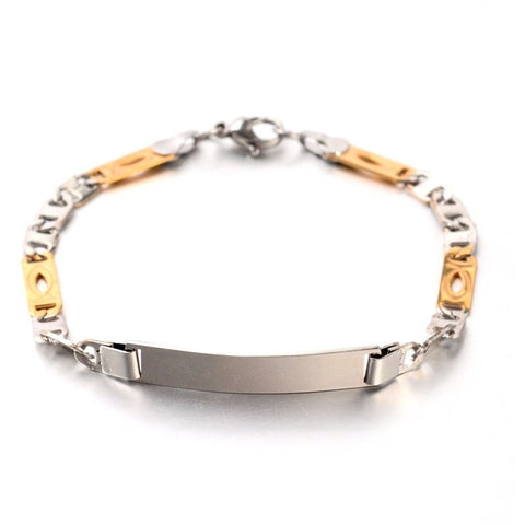 2 tone Silver & Golden ID Bracelet - Bracelets - Rebel Road