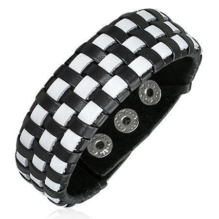 Black and White Leather Bracelet - Bracelets - Rebel Road