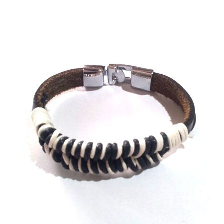 Black and White wrapped Cord Cowhide Bracelet - Rebelroad.co.za