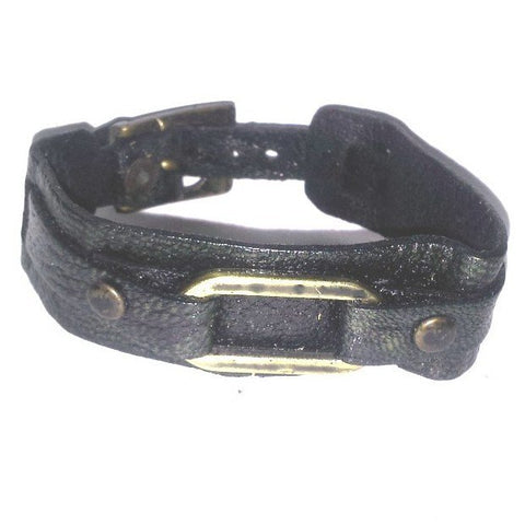 Black Loop Leather Bracelet - Bracelets - Rebel Road