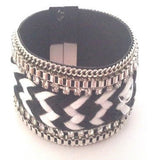 Black & White Wide Band Bracelet - Bracelets - Rebel Road