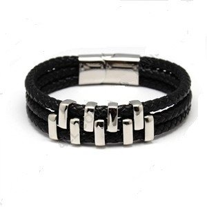 Braided Leather Cord Bracelet with Stainless Steel - Bracelets - Rebel Road