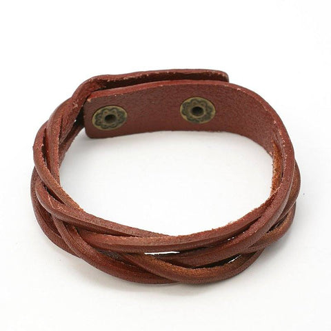 Brown Braided Snap Bracelet - Bracelets - Rebel Road