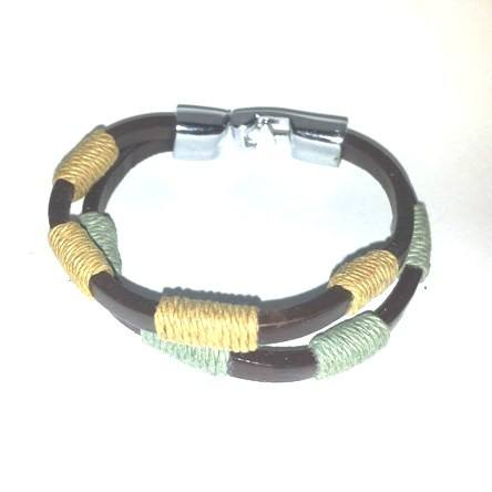 Brown Cowhide with green & beige cord - Bracelets - Rebel Road