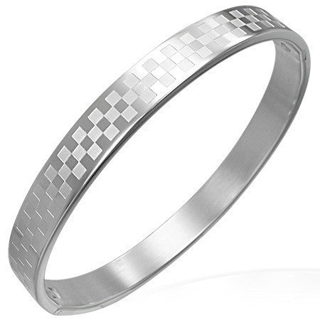 Checkered Hinged Bangle - Rebelroad.co.za