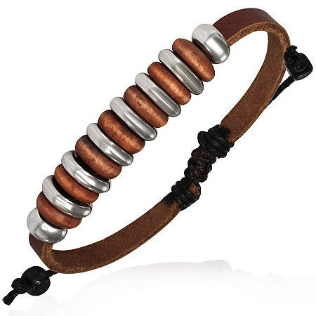 Cow Hide Leather Cord Bracelet - Rebelroad.co.za - 3