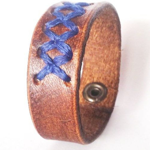 Criss Cross Brown n Blue Bracelet - Rebelroad.co.za