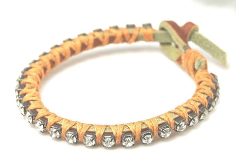 Diamante Rhinestone Leather cord Bracelet - Bracelets - Rebel Road