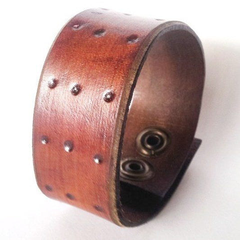 Dot Crafted Leather Bracelet - Rebelroad.co.za