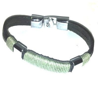 Leather Bracelet With Green Cotton Cord - Bracelets - Rebel Road