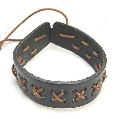 Leather Cord Bracelet with Nylon Thread - Rebelroad.co.za