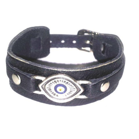 Nazar 2 Eye Leather Bracelet - Bracelets - Rebel Road