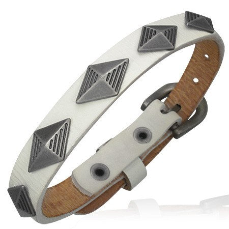 Pyramid White Leather Bracelet - Bracelets - Rebel Road
