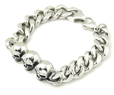 Skull Curb Chain Bracelet - Bracelets - Rebelroad.co.za