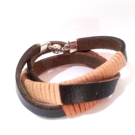Suede and Leather Triple Wrap Bracelet C220 - Rebelroad.co.za - 1