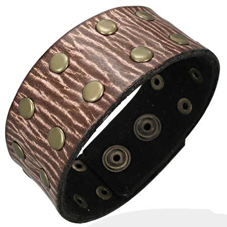 Textured Stud Leather Bracelet - Rebelroad.co.za