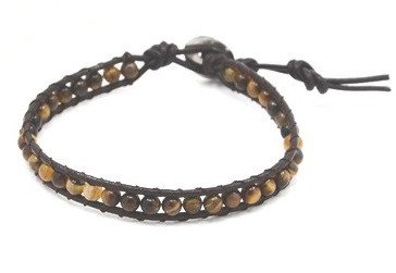 Tiger Eye Beaded Leather Cord Bracelet - Bracelets - Rebel Road