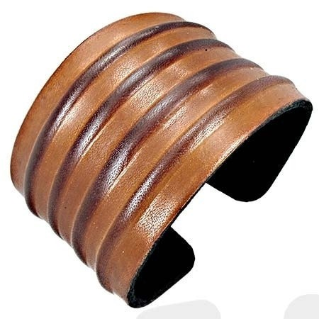 Two Tone Ribbed Cuff Bracelet - Bracelets - Rebel Road