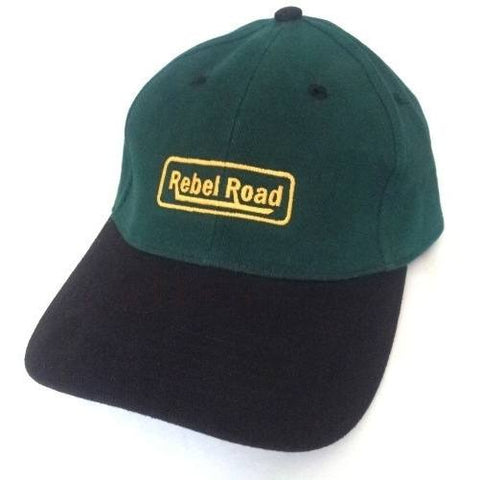 Green & Black  Brushed Cotton LOGO Cap - Caps - Rebel Road