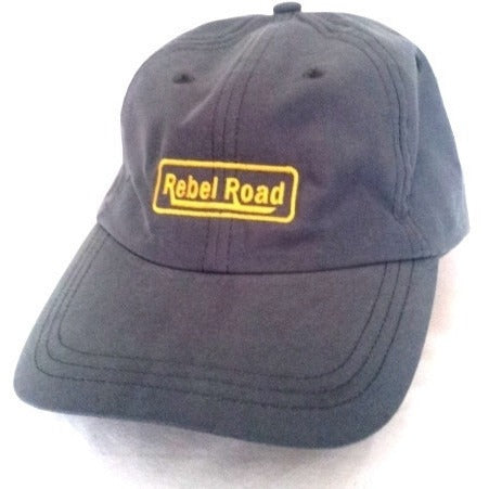 Grey Micro Fibre LOGO Cap with Belt Buckle Closure - Rebelroad.co.za