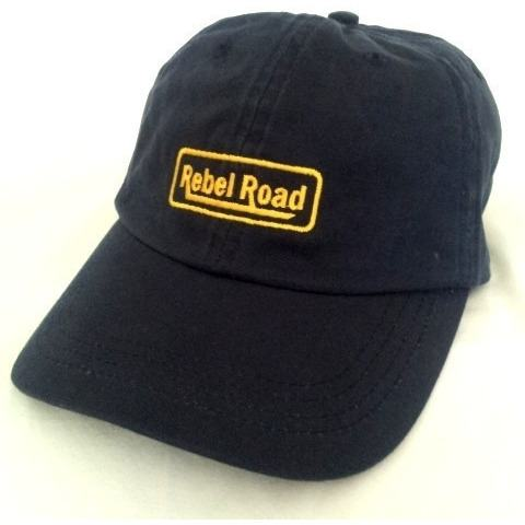 NAVY Washed Canvas LOGO Cap with Brass Clasp - Rebelroad.co.za