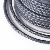 Metallic Grey Braided Bolo Leather Cord -3mm