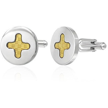 2-tone Cross Circle Cufflinks - Cuff Links - Rebel Road