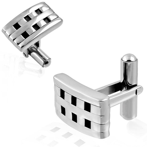 Stainless Steel 2-tone Grid/ Checker Rectangle Cufflinks - Rebelroad.co.za