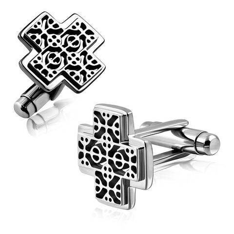 Stainless Steel Fancy Cross Cufflinks - Rebelroad.co.za