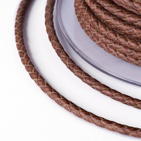 Sienna Brown Braided Bolo Leather Cord -3mm