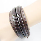 Brown Narrow to Wide Leather Bracelet - Bracelets - Rebelroad.co.za