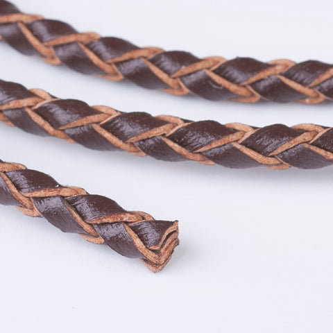Saddle Brown Braided Bolo Leather Cord -3mm