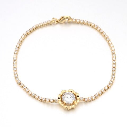 Golden Flower Bud with Zirconia - Bracelets - Rebelroad.co.za