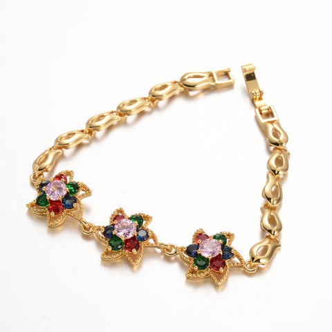 Three Flower Golden Zirconia Bracelet - Bracelets - Rebelroad.co.za