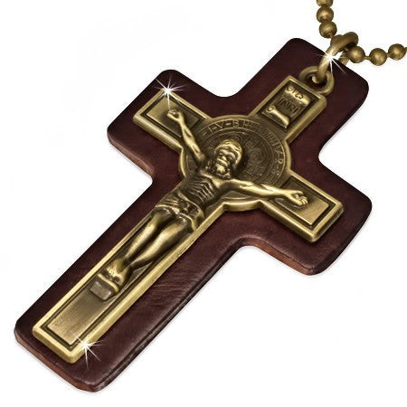 Crucifix on Brown Leather Necklace - Rebelroad.co.za