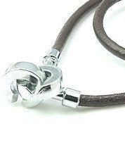Leather Necklace with Round  Bulky Clasp C230 - Rebelroad.co.za - 1