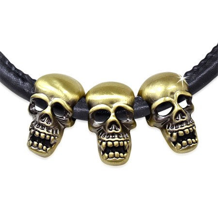 PU Black Leather Necklace & Bronze Alloy Ghost Skull - Neckwear - Rebel Road