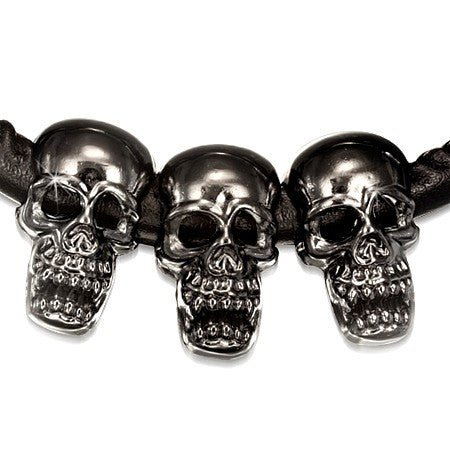 PU Black Leather Necklace & Titanium Alloy Ghost Skull - Neckwear - Rebel Road