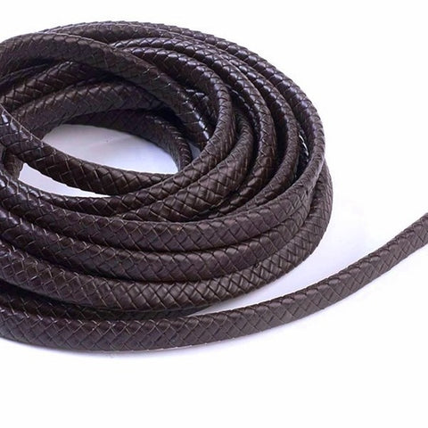 Dark Brown Oval Cowhide Braided Bolo Leather Cord -5mm*10mm from Rebelroad.co.za