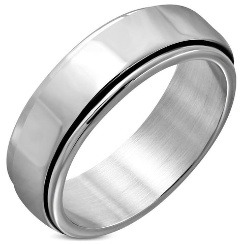 2-tone Engravable Spinning Flat Band Ring - Rings - Rebel Road