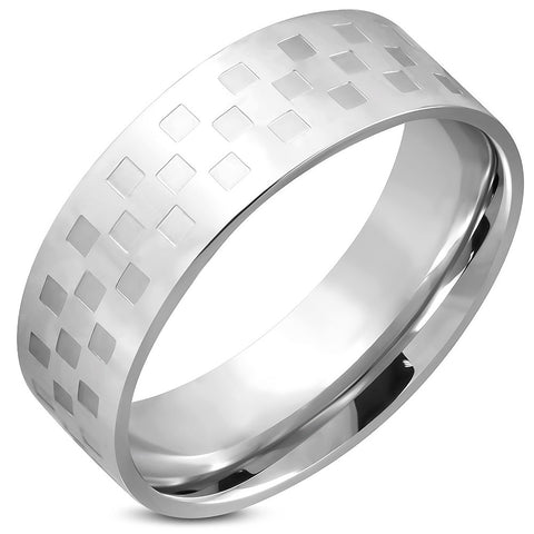 Checker/Grid Comfort Fit Wedding Flat Band Ring - Rings - Rebel Road