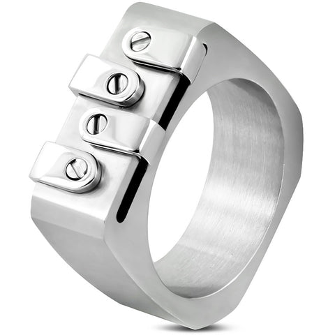 Geometric Design Band Ring - Rings - Rebel Road