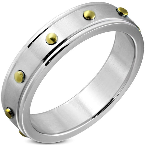 Round Stud Flat Band Ring - Rings - Rebel Road