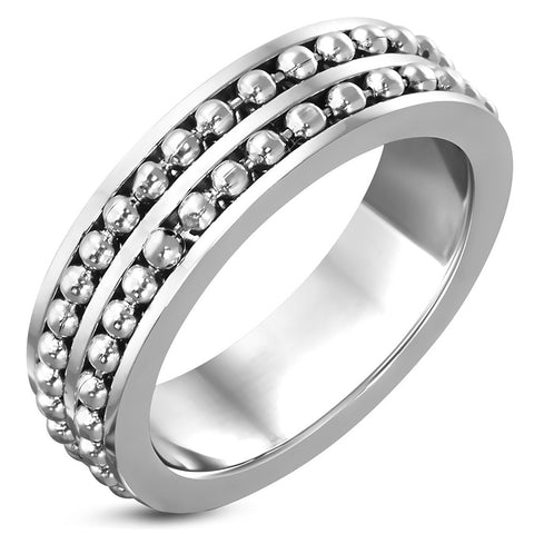 Stainless Steel Ball Chain Wrap Half-Round Band Ring - Rings - Rebel Road